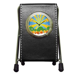 Sunlight Clouds Blue Yellow Green Orange White Sky Pen Holder Desk Clocks