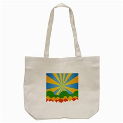 Sunlight Clouds Blue Yellow Green Orange White Sky Tote Bag (cream)