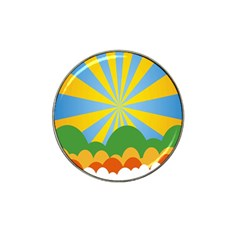 Sunlight Clouds Blue Yellow Green Orange White Sky Hat Clip Ball Marker (10 Pack)