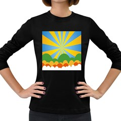 Sunlight Clouds Blue Yellow Green Orange White Sky Women s Long Sleeve Dark T-Shirts