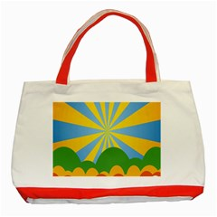 Sunlight Clouds Blue Yellow Green Orange White Sky Classic Tote Bag (Red)