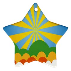 Sunlight Clouds Blue Yellow Green Orange White Sky Star Ornament (Two Sides)