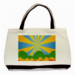 Sunlight Clouds Blue Yellow Green Orange White Sky Basic Tote Bag (Two Sides)
