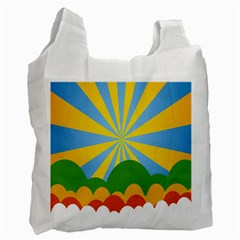 Sunlight Clouds Blue Yellow Green Orange White Sky Recycle Bag (One Side)