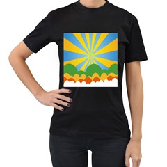 Sunlight Clouds Blue Yellow Green Orange White Sky Women s T-Shirt (Black)
