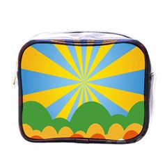 Sunlight Clouds Blue Yellow Green Orange White Sky Mini Toiletries Bags