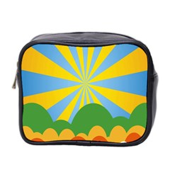 Sunlight Clouds Blue Yellow Green Orange White Sky Mini Toiletries Bag 2-Side