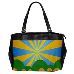 Sunlight Clouds Blue Yellow Green Orange White Sky Office Handbags