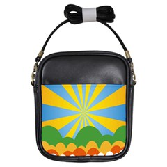 Sunlight Clouds Blue Yellow Green Orange White Sky Girls Sling Bags