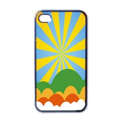 Sunlight Clouds Blue Yellow Green Orange White Sky Apple iPhone 4 Case (Black)
