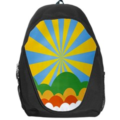 Sunlight Clouds Blue Yellow Green Orange White Sky Backpack Bag