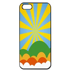 Sunlight Clouds Blue Yellow Green Orange White Sky Apple iPhone 5 Seamless Case (Black)