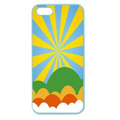 Sunlight Clouds Blue Yellow Green Orange White Sky Apple Seamless iPhone 5 Case (Color)