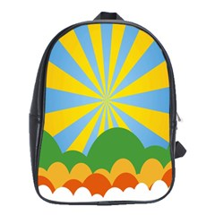 Sunlight Clouds Blue Yellow Green Orange White Sky School Bags (XL)