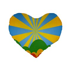 Sunlight Clouds Blue Yellow Green Orange White Sky Standard 16  Premium Heart Shape Cushions