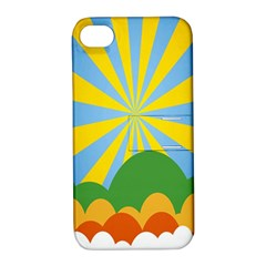 Sunlight Clouds Blue Yellow Green Orange White Sky Apple iPhone 4/4S Hardshell Case with Stand
