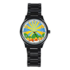 Sunlight Clouds Blue Yellow Green Orange White Sky Stainless Steel Round Watch