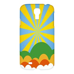 Sunlight Clouds Blue Yellow Green Orange White Sky Samsung Galaxy S4 I9500/I9505 Hardshell Case