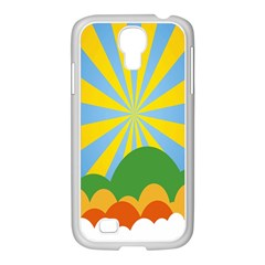 Sunlight Clouds Blue Yellow Green Orange White Sky Samsung GALAXY S4 I9500/ I9505 Case (White)