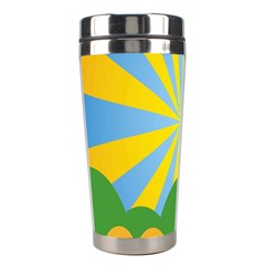 Sunlight Clouds Blue Yellow Green Orange White Sky Stainless Steel Travel Tumblers