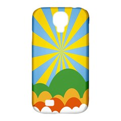 Sunlight Clouds Blue Yellow Green Orange White Sky Samsung Galaxy S4 Classic Hardshell Case (PC+Silicone)
