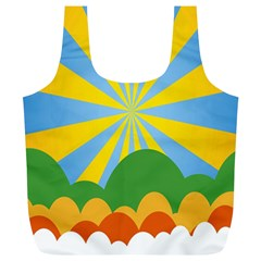 Sunlight Clouds Blue Yellow Green Orange White Sky Full Print Recycle Bags (L)