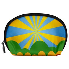 Sunlight Clouds Blue Yellow Green Orange White Sky Accessory Pouches (large)