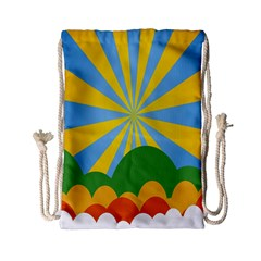 Sunlight Clouds Blue Yellow Green Orange White Sky Drawstring Bag (Small)