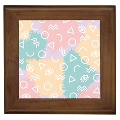 Triangle Circle Wave Eye Rainbow Orange Pink Blue Sign Framed Tiles