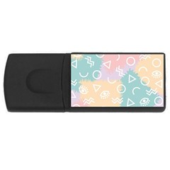Triangle Circle Wave Eye Rainbow Orange Pink Blue Sign USB Flash Drive Rectangular (2 GB)