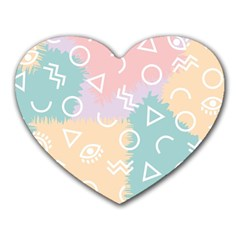 Triangle Circle Wave Eye Rainbow Orange Pink Blue Sign Heart Mousepads