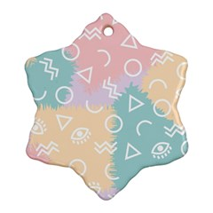 Triangle Circle Wave Eye Rainbow Orange Pink Blue Sign Snowflake Ornament (Two Sides)