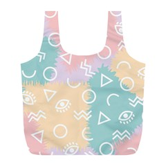 Triangle Circle Wave Eye Rainbow Orange Pink Blue Sign Full Print Recycle Bags (L)