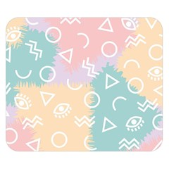 Triangle Circle Wave Eye Rainbow Orange Pink Blue Sign Double Sided Flano Blanket (Small)