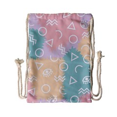 Triangle Circle Wave Eye Rainbow Orange Pink Blue Sign Drawstring Bag (Small)