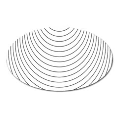 Wave Black White Line Oval Magnet