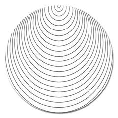 Wave Black White Line Magnet 5  (Round)