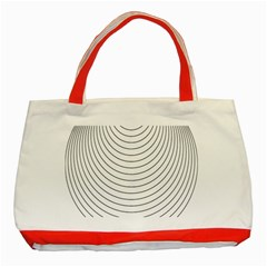 Wave Black White Line Classic Tote Bag (Red)