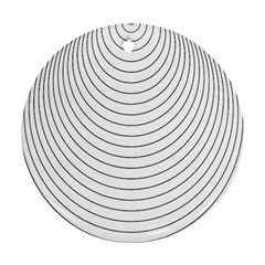 Wave Black White Line Round Ornament (Two Sides)