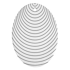 Wave Black White Line Oval Ornament (Two Sides)