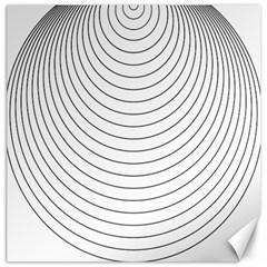Wave Black White Line Canvas 12  x 12