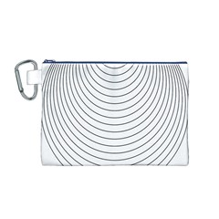 Wave Black White Line Canvas Cosmetic Bag (M)