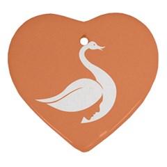 Swan Girl Face Hair Face Orange White Ornament (heart)