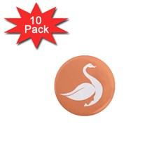 Swan Girl Face Hair Face Orange White 1  Mini Magnet (10 pack)