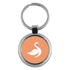 Swan Girl Face Hair Face Orange White Key Chains (Round)