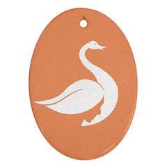 Swan Girl Face Hair Face Orange White Oval Ornament (Two Sides)