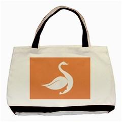 Swan Girl Face Hair Face Orange White Basic Tote Bag (two Sides)