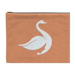 Swan Girl Face Hair Face Orange White Cosmetic Bag (XL)