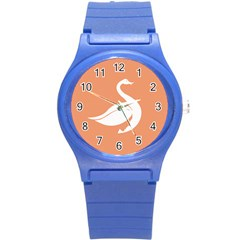 Swan Girl Face Hair Face Orange White Round Plastic Sport Watch (S)
