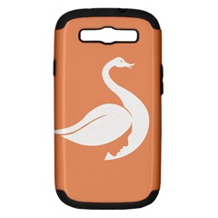 Swan Girl Face Hair Face Orange White Samsung Galaxy S III Hardshell Case (PC+Silicone)